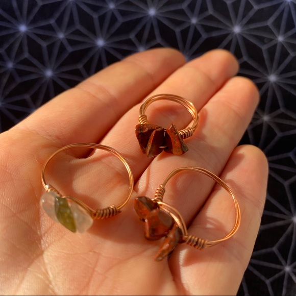 3 Crystal Bead Silver Wire Ring